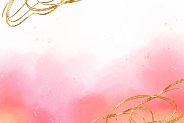 Fundo aquarela com zoom de folha dourada