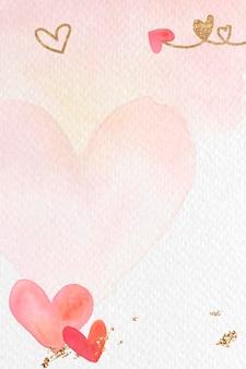 Fundo aquarela coração vermelho