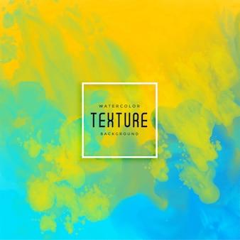 Fundo aquarela de fluxo de tinta brilhante azul e amarelo