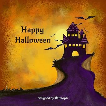 Fundo aquarela de halloween com castelo