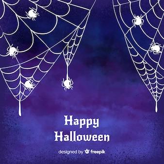 Fundo aquarela de halloween com teia de aranha