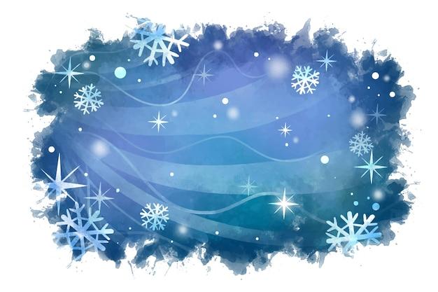 Fundo aquarela de inverno com flocos de neve