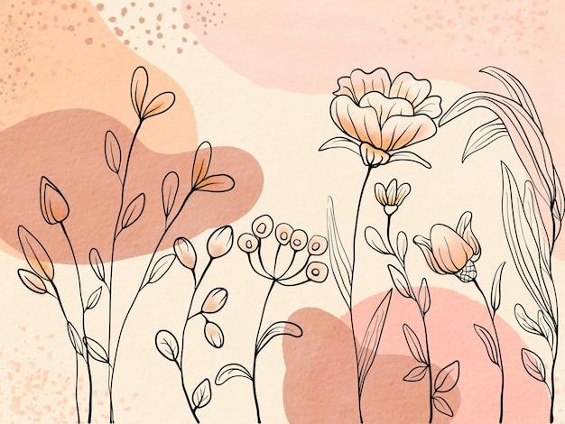 Fundo aquarela desenhado à mão com linha de desenho de flor