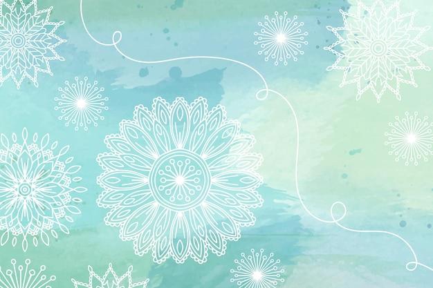 Fundo aquarela floral com elementos desenhados à mão