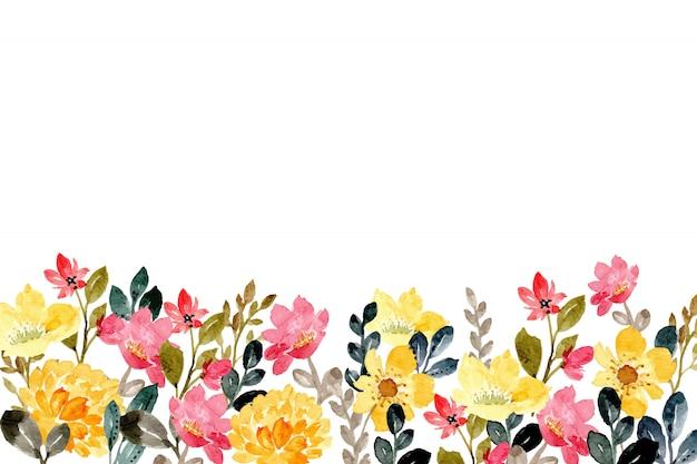 Fundo aquarela floral rosa amarelo