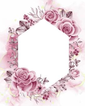 Fundo aquarela flores de ouro rosa e folhas com espaço em branco