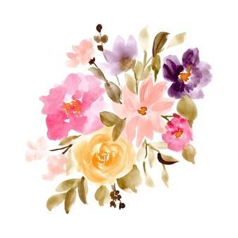 Fundo aquarela linda arranjo floral