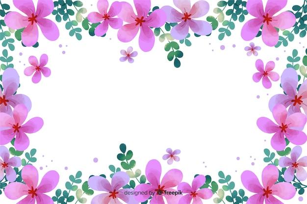 Fundo aquarela moldura floral