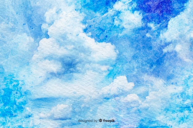 Fundo aquarela nuvens brancas
