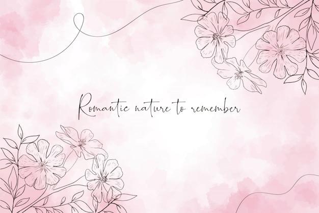 Fundo aquarela romântico com flores