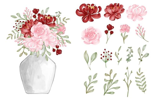 Fundo aquarela sem costura flor padrão vermelho e rosa
