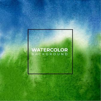 Fundo aquarela textura azul e verde, pintura à mão.