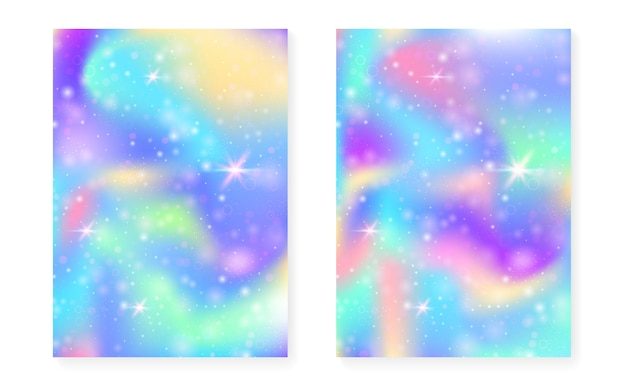 Fundo arco-íris com gradiente de princesa kawaii