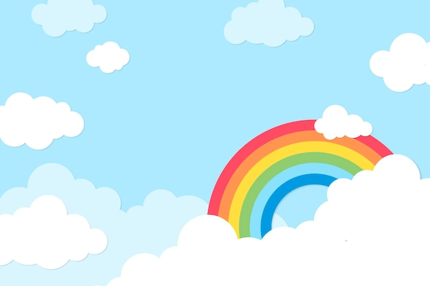 Fundo arco-íris, vetor de design de corte de papel pastel