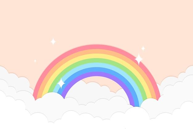 Fundo arco-íris, vetor de estilo de corte de papel pastel