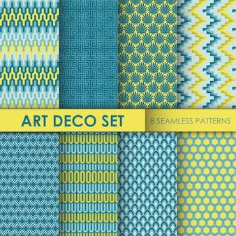 Fundo art déco vintage conjunto de 8 padrões sem emenda