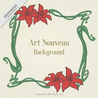 Fundo art nouveau com frame floral