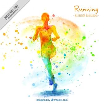 Fundo artístico da aguarela da mulher running