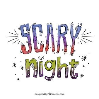 Fundo assustador da mão da noite desenhada