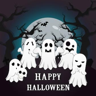 Fundo assustador de dia das bruxas com os fantasmas brancos no cemitério.