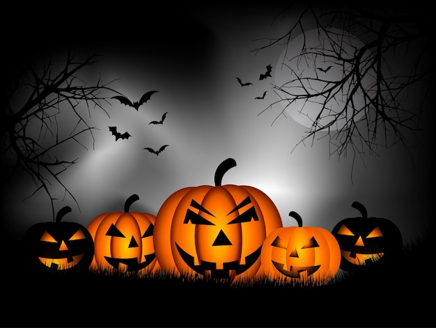 Fundo assustador de halloween com abóboras e morcegos