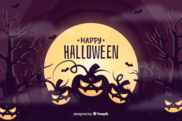 Fundo assustador de halloween com abóboras