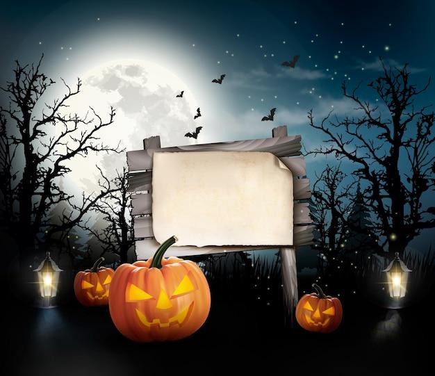 Fundo assustador de halloween com uma placa de madeira.
