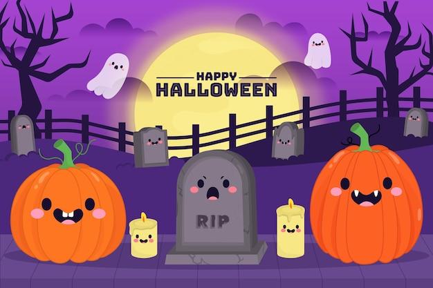 Fundo assustador de halloween desenhado