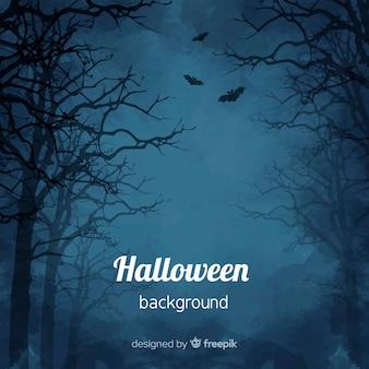 Fundo assustador de halloween em aquarela