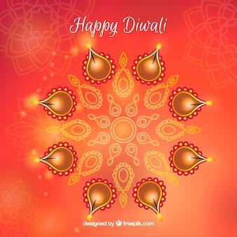 Fundo avermelhado de borrado com velas de diwali