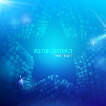Fundo azul abstrato da estrela da malha 3d com círculos, alargamentos da lente e reflexões de incandescência. efeito bokeh.