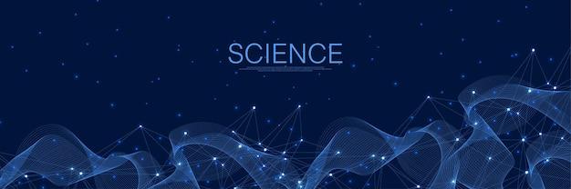 Fundo azul abstrato das conexões de rede digital. inteligência artificial e conceito de tecnologia de engenharia. rede global big data, lines plexus, minimal array. ilustração vetorial.