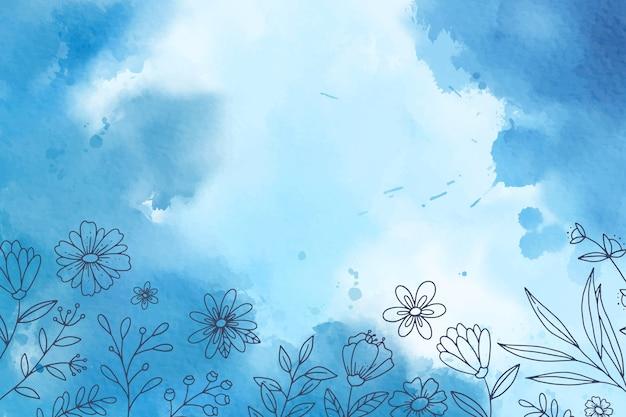 Fundo azul aquarela com elementos desenhados à mão