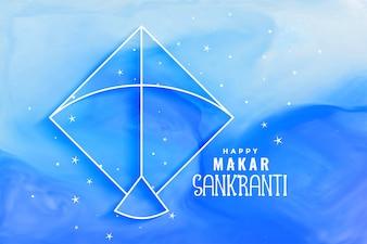 Fundo azul aquarela de Makar sankranti