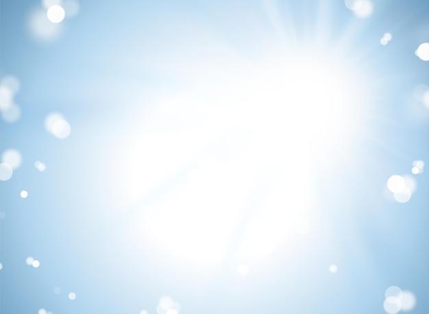 Fundo azul bokeh, partícula e efeito de aura de luz para decoração