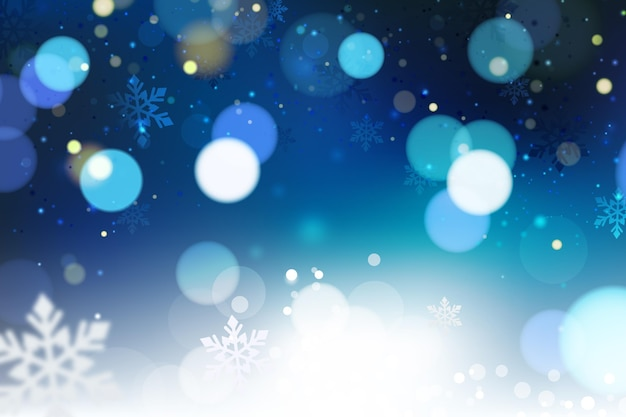 Fundo azul borrado de inverno