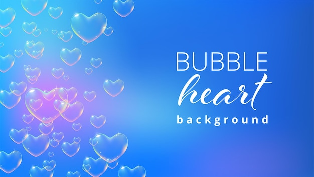 Fundo azul brilhante com bolhas de sabão em forma de coração coloridas para o vetor de cartão de dia dos namorados