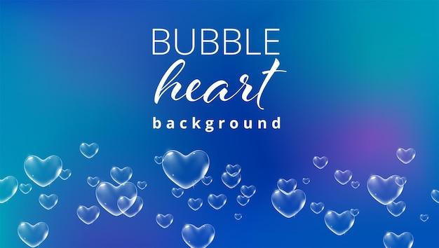 Fundo azul brilhante com bolhas de sabão em forma de coração de cor branca para vetor de cartão de dia dos namorados