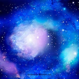 Fundo azul brilhante da galáxia da aguarela
