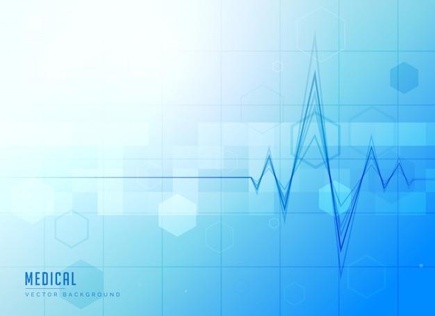 Fundo azul brilhante médico com eletrocardiograma
