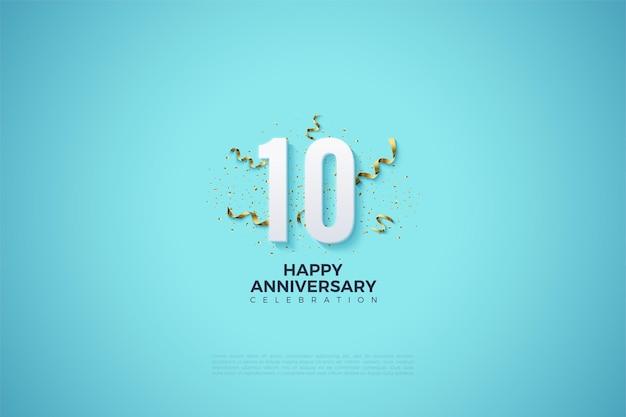 Fundo azul brilhante para o 10º aniversário com números e pequenos recortes de fita
