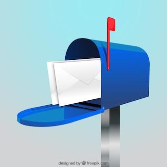 Fundo azul caixa de correio com envelopes