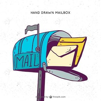 Fundo azul caixa de correio com mão desenhada envelopes