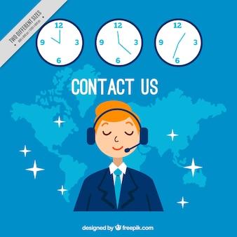 Fundo azul callcenter com relógios
