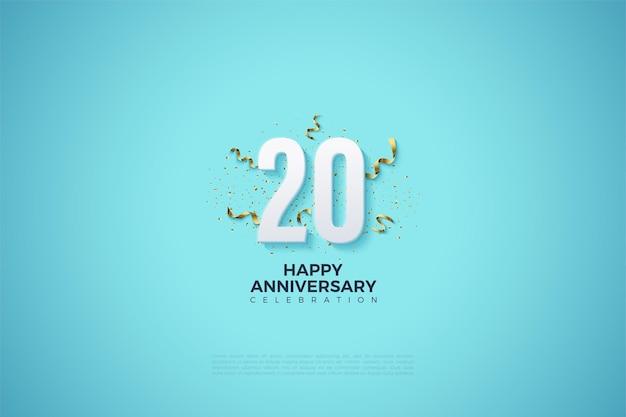 Fundo azul celeste do vigésimo ano com números 3d