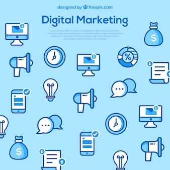 Fundo azul claro com elementos de marketing