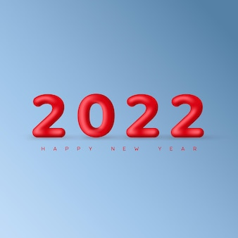 Fundo azul claro de natal mínimo com balões vermelhos decorativos números 2022 e saudação