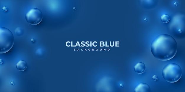 Fundo azul clássico com esferas 3d abstratas.