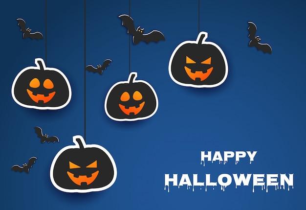 Fundo azul clássico de halloween com abóboras e morcegos em estilo de jornal