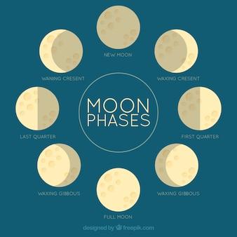 Fundo azul com as fases da lua em design plano
